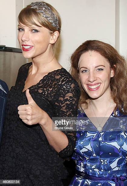 Taylor Swift and Tony Winner Jessie Mueller as 'Carole King' pose backstage at the hit musical about Carole King's life 'Beautiful' on Broadway at...