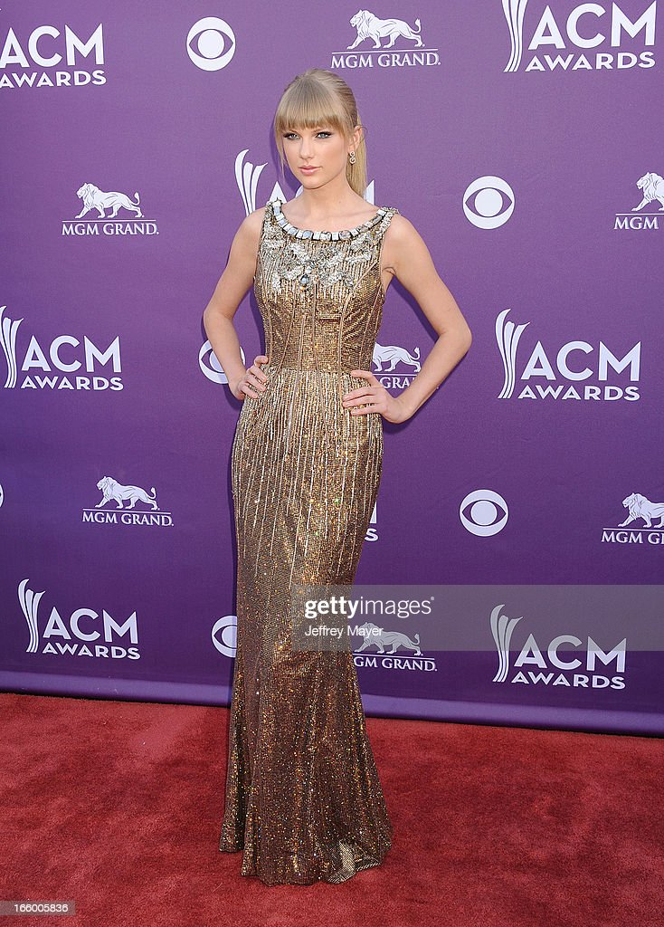 Taylor Swift arrives at the 48th Annual Academy of Country Music Awards at MGM Grand Garden Arena on April 7, 2013 in Las Vegas, Nevada.