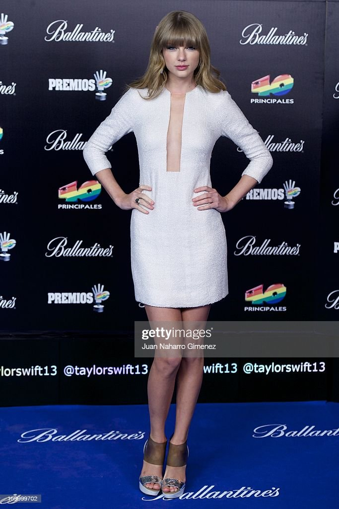 <a gi-track='captionPersonalityLinkClicked' href=/galleries/search?phrase=Taylor+Swift&family=editorial&specificpeople=619504 ng-click='$event.stopPropagation()'>Taylor Swift</a> attends '40 Principales Awards' 2012 photocall at Palacio de los Deportes on January 24, 2013 in Madrid, Spain.