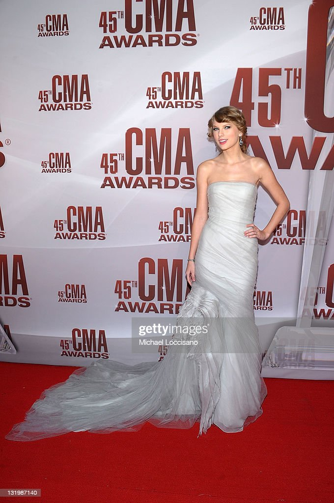 <a gi-track='captionPersonalityLinkClicked' href=/galleries/search?phrase=Taylor+Swift&family=editorial&specificpeople=619504 ng-click='$event.stopPropagation()'>Taylor Swift</a> attends the 45th annual CMA Awards at the Bridgestone Arena on November 9, 2011 in Nashville, Tennessee.