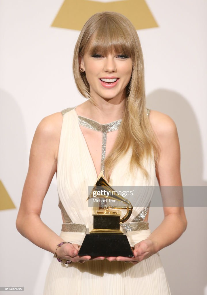 <a gi-track='captionPersonalityLinkClicked' href=/galleries/search?phrase=Taylor+Swift&family=editorial&specificpeople=619504 ng-click='$event.stopPropagation()'>Taylor Swift</a> attends The 55th Annual GRAMMY Awards - press room held at Staples Center on February 10, 2013 in Los Angeles, California.