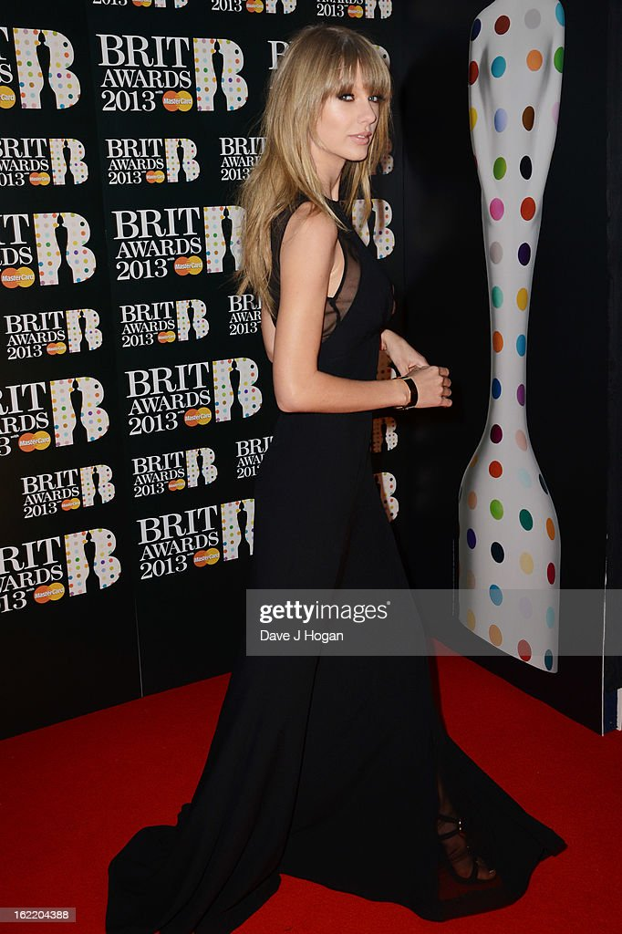 Taylor Swift attends The Brit Awards 2013 at The O2 Arena on February 20, 2013 in London, England.