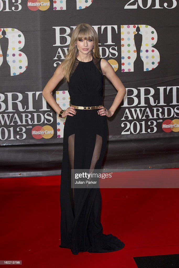 <a gi-track='captionPersonalityLinkClicked' href=/galleries/search?phrase=Taylor+Swift&family=editorial&specificpeople=619504 ng-click='$event.stopPropagation()'>Taylor Swift</a> attends the Brit Awards 2013,at 02 Arena on February 20, 2013 in London, England.