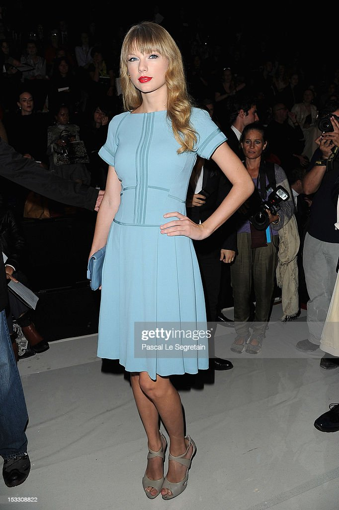 <a gi-track='captionPersonalityLinkClicked' href=/galleries/search?phrase=Taylor+Swift&family=editorial&specificpeople=619504 ng-click='$event.stopPropagation()'>Taylor Swift</a> attends the Elie Saab Spring/Summer 2013 show as part of Paris Fashion Week at Espace Ephemere Tuileries on October 3, 2012 in Paris, France.