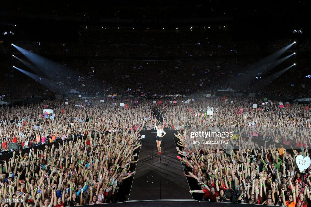 Taylor Swift brought her RED tour back to the New York market playing a sold out show to more than 55000 fans at MetLife Stadium on July 13 2013 in...