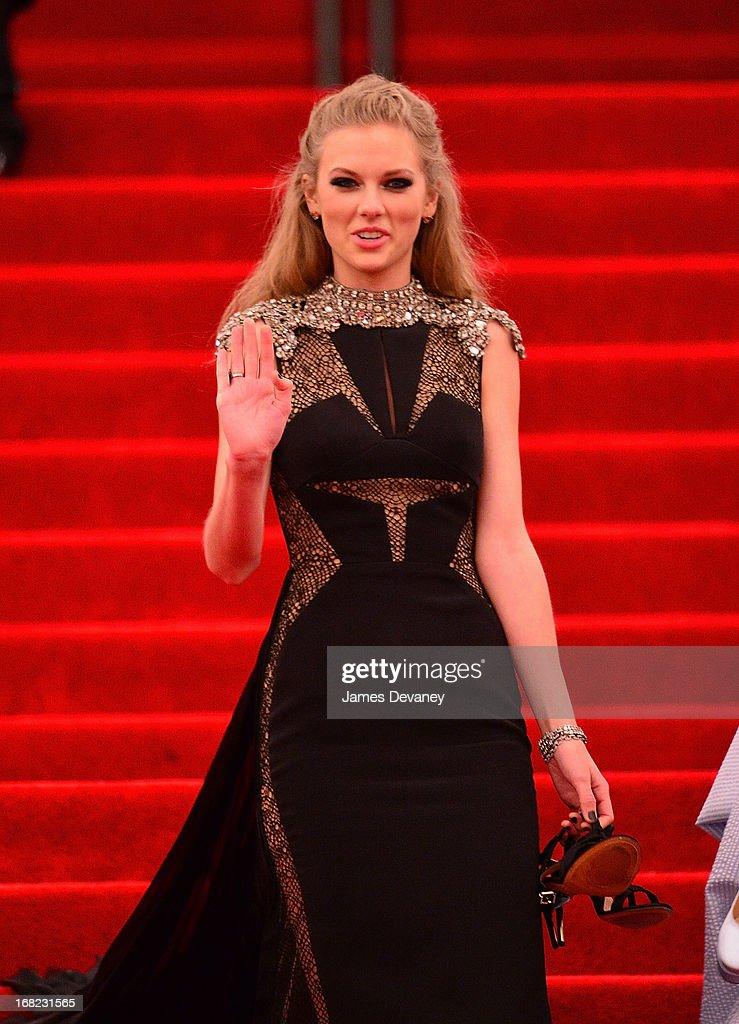 Taylor Swift departs the Costume Institute Gala for the 'PUNK: Chaos to Couture' exhibition at the Metropolitan Museum of Art on May 6, 2013 in New York City.