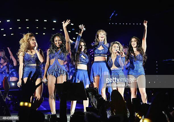 Taylor Swift Dina Jane Hansen Normani Kordei Camila Corbello Ally Brooke and Lauren Jauregi of Fifth Harmony perform at Levi's Stadium on August 14...