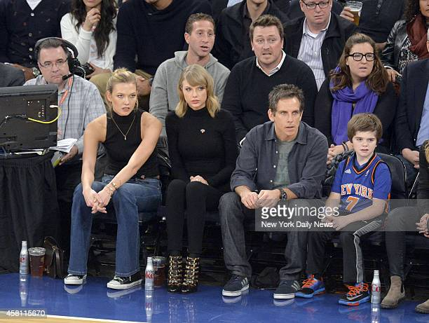 Taylor Swift in the front row next to actor Ben Stiller at New York Knicks vs Chicago Bulls opening night at Madison Square Garden