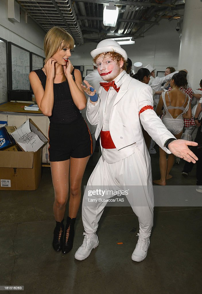 Taylor Swift is joined backstage by Ed Sheeran after she wrapped the North American portion of her RED tour playing to a crowd of more than 14,000 fans on the final night of three sold-out hometown shows at Nashville's Bridgestone Arena on September 21, 2013.