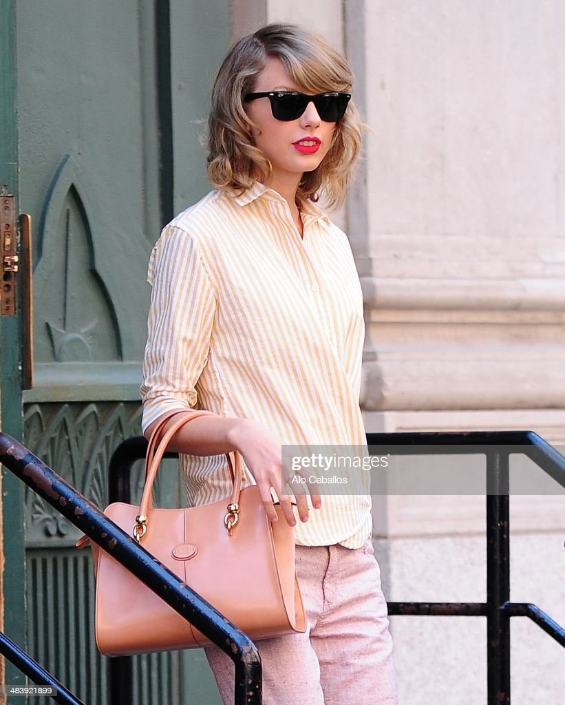Taylor Swift is seen in Tribeca on April 10, 2014 in New York City.