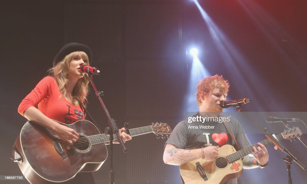 Taylor Swift joins Ed Sheeran on stage at his sold-out show at Madison Square Garden Arena on November 1, 2013 in New York City.