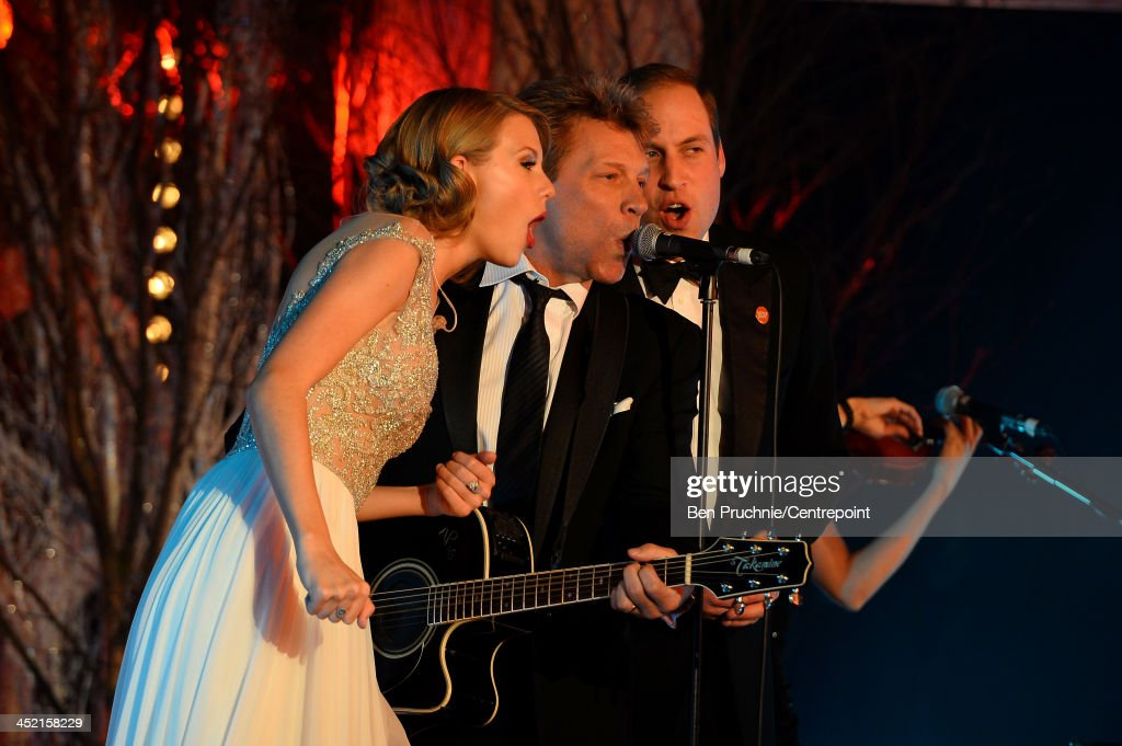 <a gi-track='captionPersonalityLinkClicked' href=/galleries/search?phrase=Taylor+Swift&family=editorial&specificpeople=619504 ng-click='$event.stopPropagation()'>Taylor Swift</a>, <a gi-track='captionPersonalityLinkClicked' href=/galleries/search?phrase=Jon+Bon+Jovi&family=editorial&specificpeople=201527 ng-click='$event.stopPropagation()'>Jon Bon Jovi</a> and Prince William, Duke of Cambridge perform during the Winter Whites Gala In Aid Of Centrepoint on November 26, 2013 in London, England.