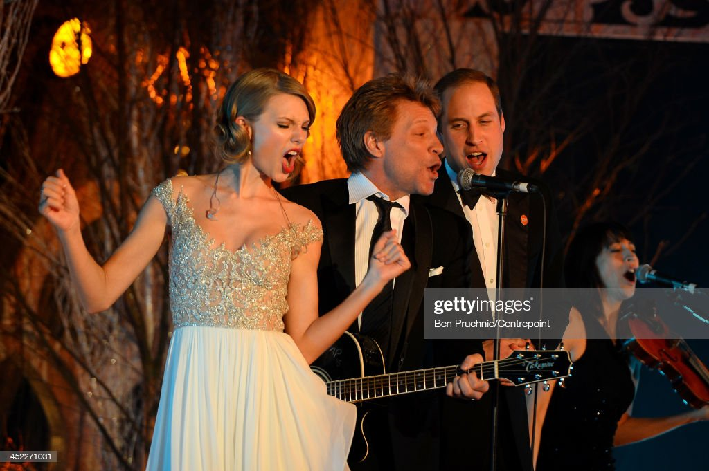 <a gi-track='captionPersonalityLinkClicked' href=/galleries/search?phrase=Taylor+Swift&family=editorial&specificpeople=619504 ng-click='$event.stopPropagation()'>Taylor Swift</a>, <a gi-track='captionPersonalityLinkClicked' href=/galleries/search?phrase=Jon+Bon+Jovi&family=editorial&specificpeople=201527 ng-click='$event.stopPropagation()'>Jon Bon Jovi</a> and <a gi-track='captionPersonalityLinkClicked' href=/galleries/search?phrase=Prince+William&family=editorial&specificpeople=178205 ng-click='$event.stopPropagation()'>Prince William</a>, Duke of Cambridge perform during the Winter Whites Gala In Aid Of Centrepoint on November 26, 2013 in London, England.