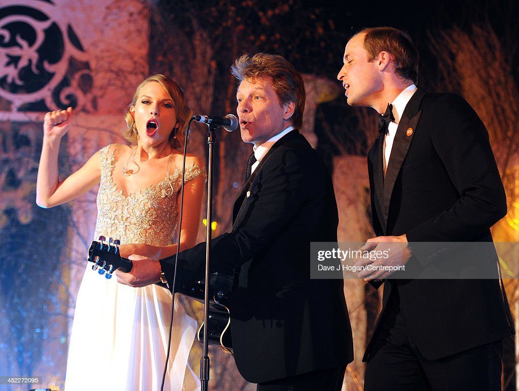 Taylor Swift, Jon Bon Jovi and Prince William, Duke of Cambridge perform during the Winter Whites Gala In Aid Of Centrepoint on November 26, 2013 in London, England.