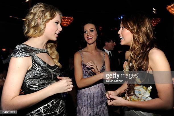 Taylor Swift Katy Perry and Miley Cyrus attends the 2009 GRAMMY Salute To Industry Icons honoring Clive Davis at the Beverly Hilton Hotel on February...
