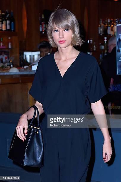 Taylor Swift leaves Blue Ribbon Brasserie restarant after dinner with her friend Lena Dunhum in SoHo on February 21 2016 in New York City
