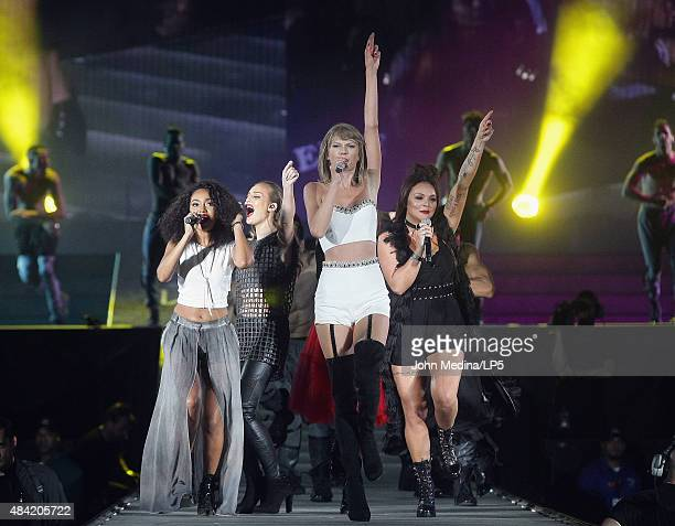 Taylor Swift LeighAnne Pinnock Perrie Edwards and Jade Thirlwall of Little Mix perform during Swift's 'The 1989 World Tour' at Levi's Stadium on...