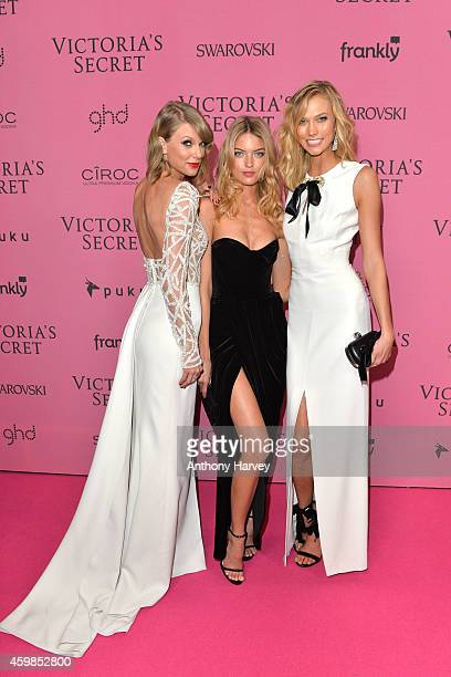 Taylor Swift Martha Hunt and Karlie Kloss attend the pink carpet of the 2014 Victoria's Secret Fashion Show on December 2 2014 in London England