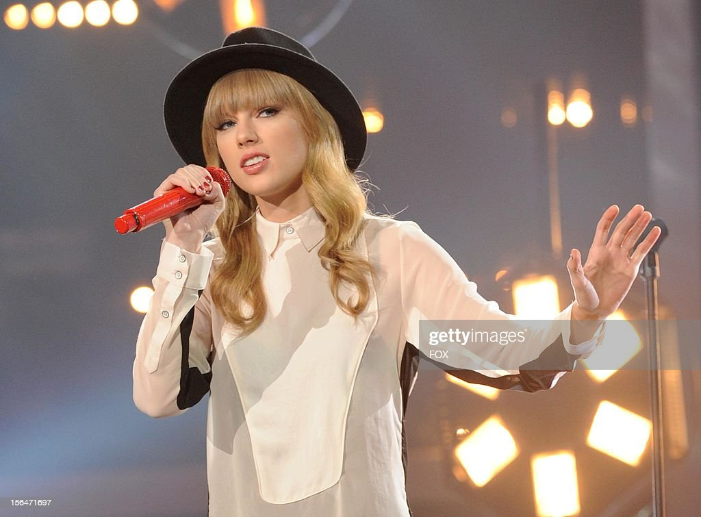 Taylor Swift onstage at FOX's 'The X Factor' Season 2 Top 11 to 10 Live Elimination Show on November 15 2012 in Hollywood California