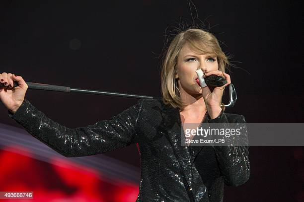 Taylor Swift performs at a concert for adoring fans at the Greensboro Coliseum on October 21 2015 in Greensboro North Carolina