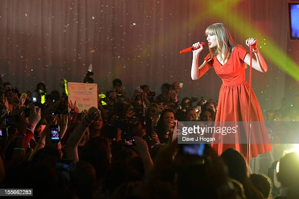Taylor Swift performs at the switch on of the 2012 Christmas lights at Westfield on November 6 2012 in London England