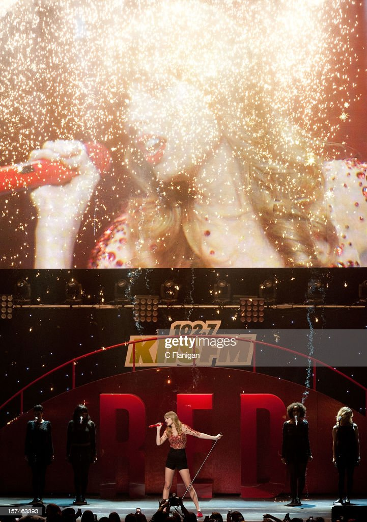 Taylor Swift performs during night 1 of the 2012 KIIS FM Jingle Ball at Nokia Theatre LA Live on December 1, 2012 in Los Angeles, California.
