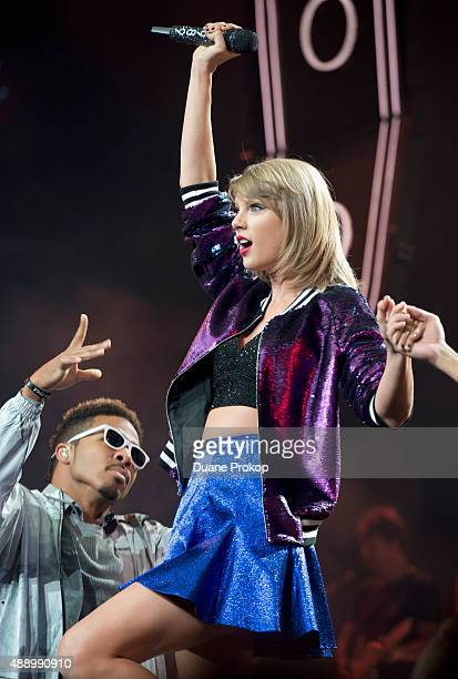 Taylor Swift performs during The 1989 World Tour at Nationwide Arena on September 18 2015 in Columbus Ohio