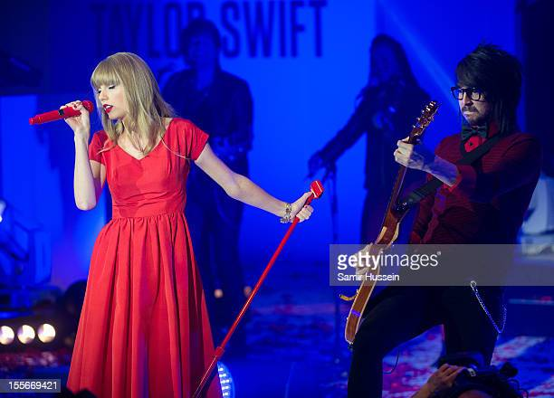 Taylor Swift performs live after switching on the Christmas lights at Westfield London White City on November 6 2012 in London England