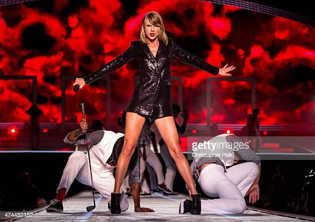 Taylor Swift performs on stage during 'The 1989 World Tour' at LSU Tiger Stadium in Baton Rouge LA on May 22 2015