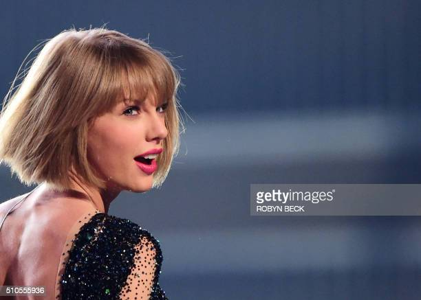 Taylor Swift performs on stage during the 58th Annual Grammy Awards in Los Angeles California on February 15 2016 AFP PHOTO / ROBYN BECK / AFP /...