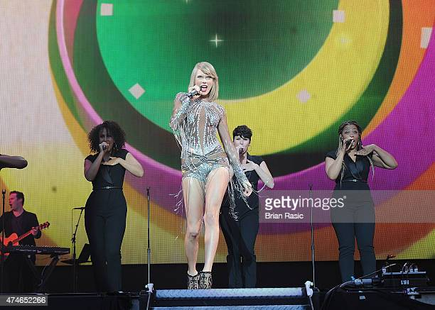 Taylor Swift performs on the main stage on day two of BBC Radio 1's Big Weekend at Earlham Park on May 24 2015 in Norwich England