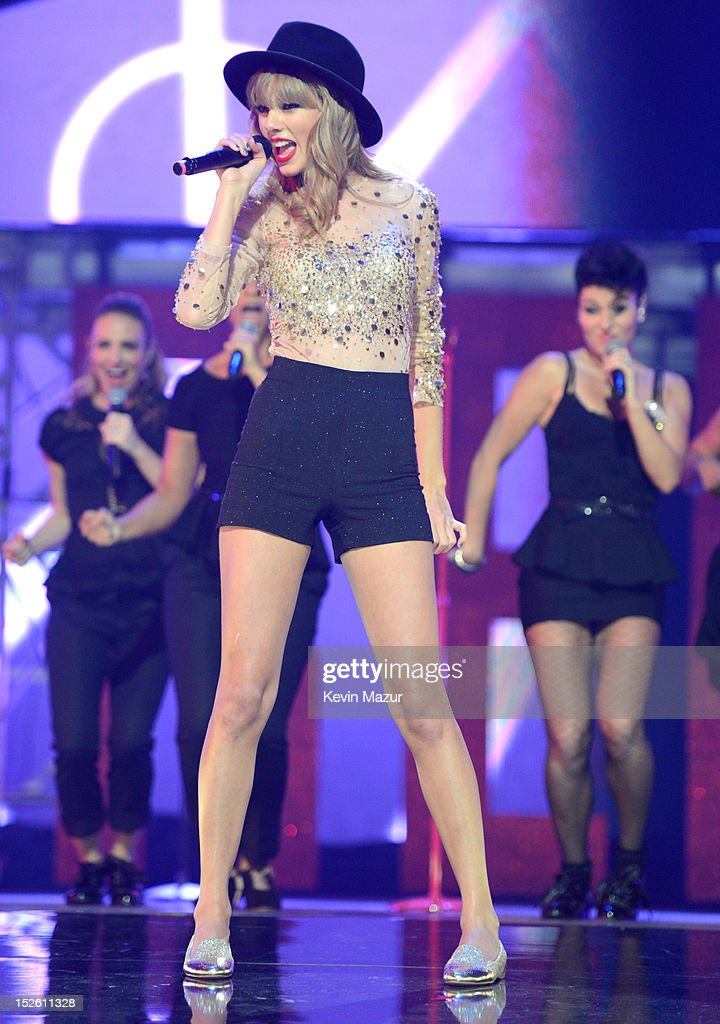 Taylor Swift performs onstage during the 2012 iHeartRadio Music Festival at the MGM Grand Garden Arena on September 22 2012 in Las Vegas Nevada
