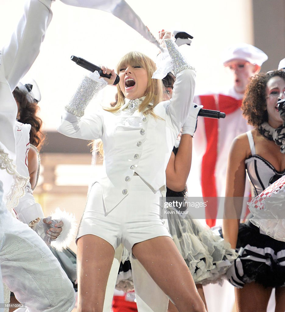 Taylor Swift performs onstage during the 55th Annual GRAMMY Awards at STAPLES Center on February 10, 2013 in Los Angeles, California.