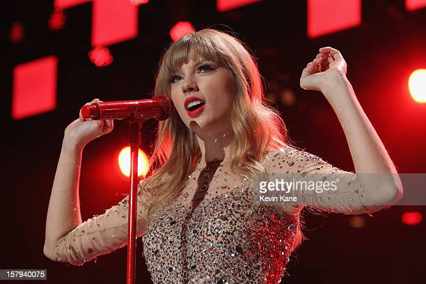 Taylor Swift performs onstage during Z100's Jingle Ball 2012 presented by Aeropostale at Madison Square Garden on December 7 2012 in New York City