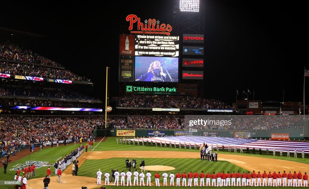 Taylor Swift performs the national anthem before the Philadelphia Phillies take on the Tampa Bay Rays in game three of the 2008 MLB World Series on October 25, 2008 at Citizens Bank Park in Philadelphia, Pennsylvania.