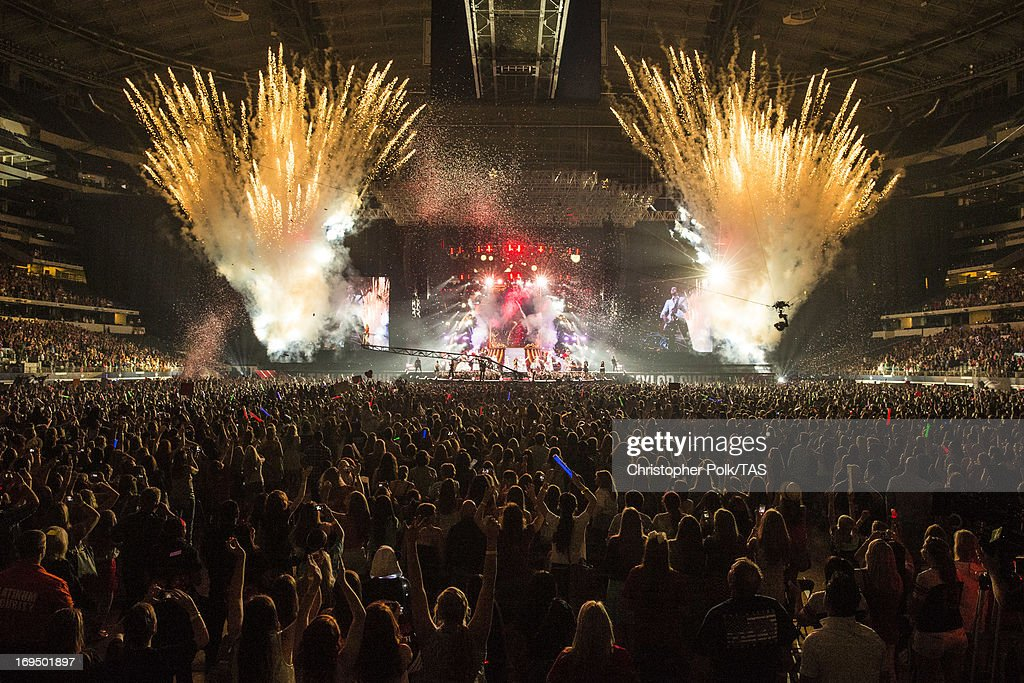 Taylor Swift plays for a sold-out crowd of more than 53,000 fans on the second of 13 North American stadium dates on The RED Tour at Cowboys Stadium on May 25, 2013 in Arlington, Texas.