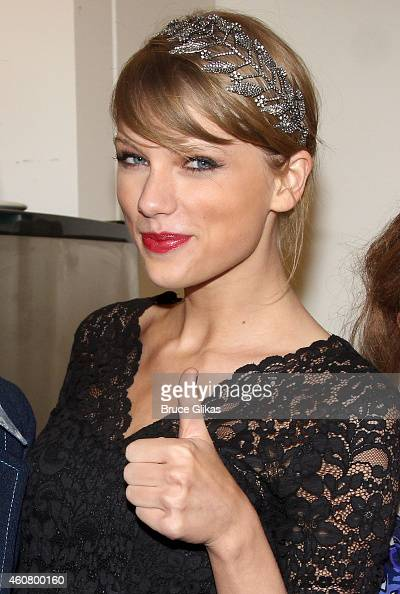 Taylor Swift poses backstage at the hit musical about Carole King's life 'Beautiful' on Broadway at The Stephen Sondheim Theater on December 22 2014...
