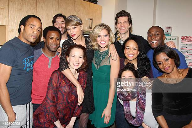 Taylor Swift poses with the cast backstage at the hit musical about Carole King's life 'Beautiful' on Broadway at The Stephen Sondheim Theater on...