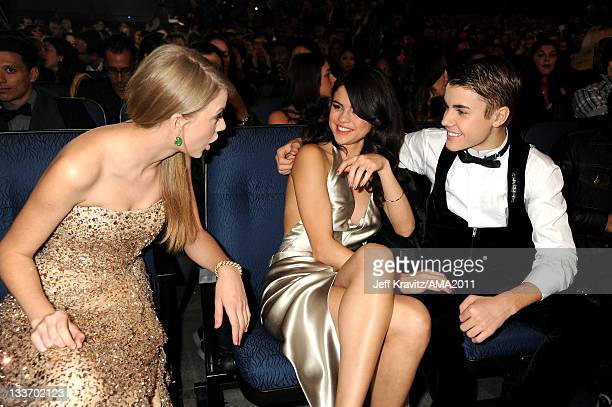 Taylor Swift Selena Gomez and Justin Bieber in the audience at the 2011 American Music Awards at the Nokia Theatre LA LIVE on November 20 2011 in Los...