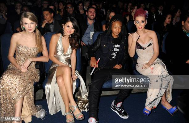 Taylor Swift Selena Gomez Jaden Smith and Katy Perry in the audience at the 2011 American Music Awards at the Nokia Theatre LA LIVE on November 20...
