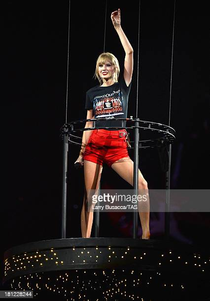 Taylor Swift wears a Grand Ole Opry tshirt as she wraps the North American portion of her RED tour playing to a crowd of more than 14000 fans on the...