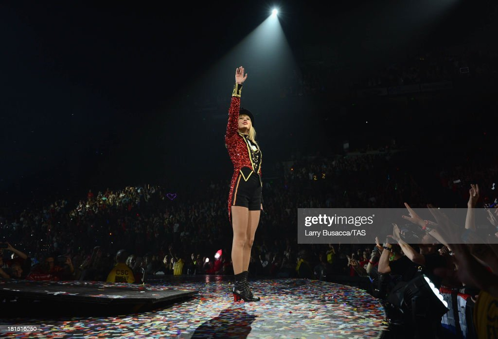 <a gi-track='captionPersonalityLinkClicked' href=/galleries/search?phrase=Taylor+Swift&family=editorial&specificpeople=619504 ng-click='$event.stopPropagation()'>Taylor Swift</a> wraps the North American portion of her RED tour playing to a crowd of more than 14,000 fans on the final night of three sold-out hometown shows at Nashville's Bridgestone Arena on September 21, 2013.