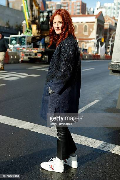 Taylor Tomasi Hill is seen wearing a coat by J Crew during New York Fashion Week Fall 2014 at Streets of Manhattan on February 7 2014 in New York City