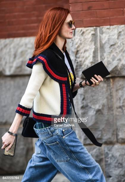 Taylor Tomasi Hill is seen wearing a Marc Jacobs sweater baggy blue jeans and boxers outside the Marc Jacobs show during New York Fashion Week...