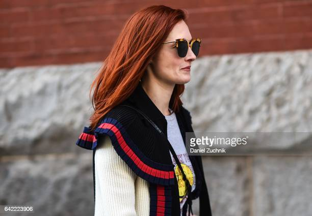 Taylor Tomasi Hill is seen wearing a Marc Jacobs sweater outside the Marc Jacobs show during New York Fashion Week Women's Fall/Winter 2017 on...