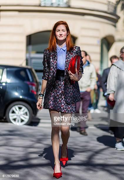 Taylor Tomasi Hill outside Miu Miu on October 5 2016 in Paris France