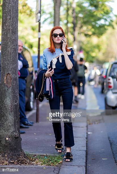 Taylor Tomasi Hill outside Rochas on September 28 2016 in Paris France