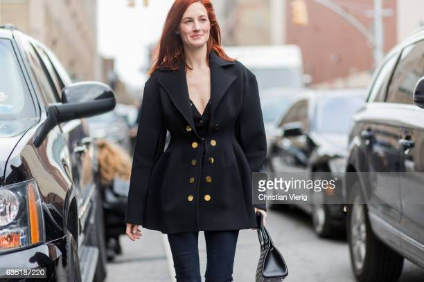 Taylor Tomasi Hill wearing a black jacket outside Proenza Schouler on February 13 2017 in New York City