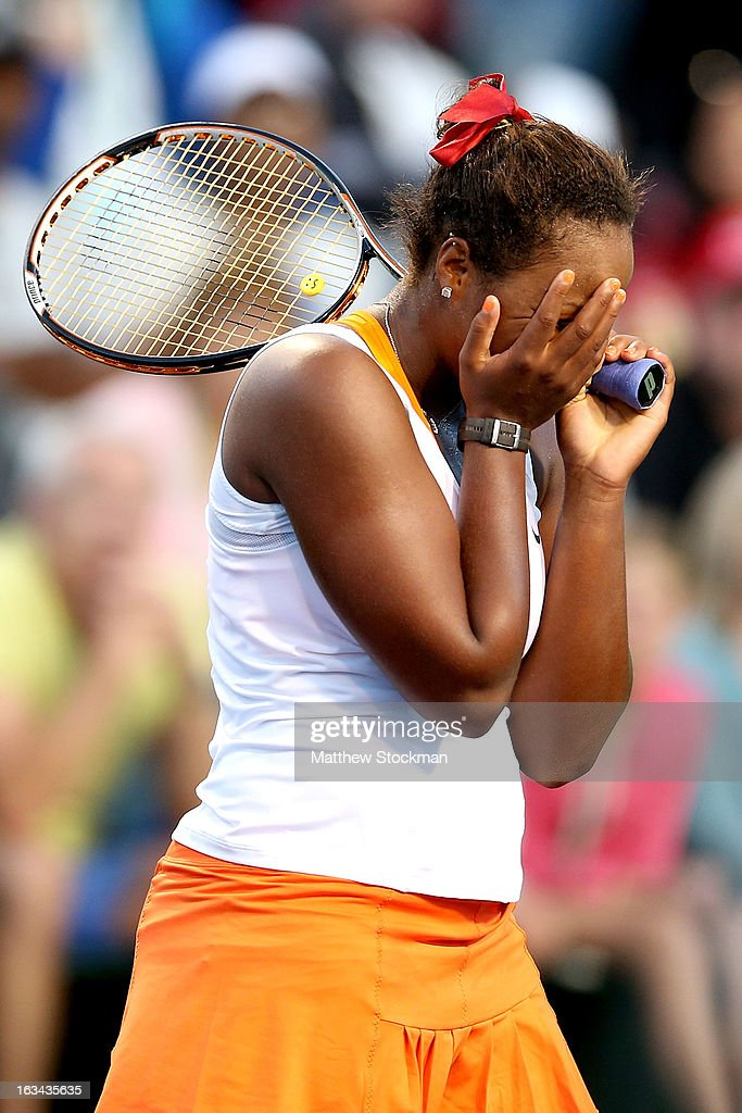 Taylor Townsend reacts to a missed point while playing Ana Ivanovic of Serbia during the BNP Paribas Open at the Indian Wells Tennis Garden on March 9, 2013 in Indian Wells, California.