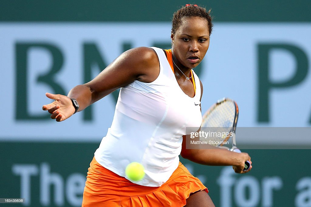 Taylor Townsend returns a shot to Ana Ivanovic of Serbia during the BNP Paribas Open at the Indian Wells Tennis Garden on March 9, 2013 in Indian Wells, California.